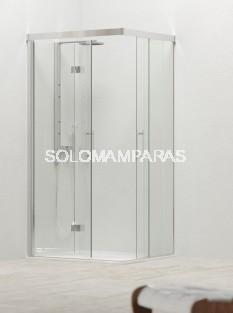 Mampara fija de ducha angular Sinalobi -Hidroglass- (fijo + corredera + lado plegable) 6mm