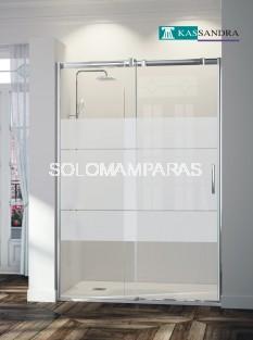 Mampara -Kassandra- Triana (TN102) 1 fija + 1 corredera serigrafía Clio (antical Easy Clean)