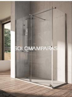 Mampara de ducha -Kassandra- Volare (VO102 + VO103) 1 fija + 1 corredera + 1 lateral fijo, 8 mm (antical Easy Clean)