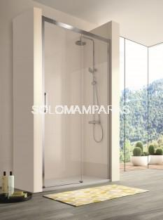 Mampara de ducha -Kassandra- 400 (CU607+CU602) (1 fija + 1 corredera) Transparente (Antical Easy Clean)