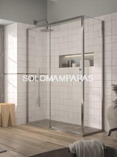 Mampara de ducha - Kassandra- Yoko (YK607 + YK602 + YK103) (1 fija + 1 corredera + 1 lateral fijo) 6 mm (Antical Easy Clean)
