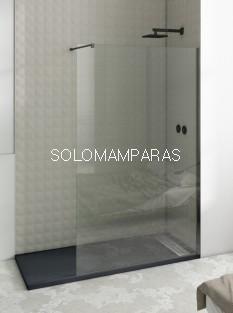 Mampara de ducha fija Minimal, vidrio 8mm (tratamiento antical incluido) perfil negro