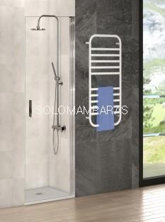 Mampara ducha Antibes (puerta abatible) transparente de 8mm, perfil cromo