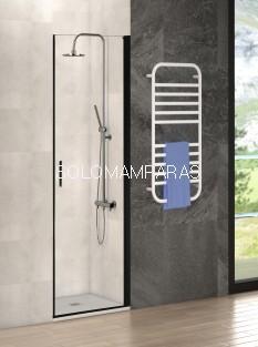 Mampara ducha Antibes (puerta abatible) transparente de 8mm, perfil negro