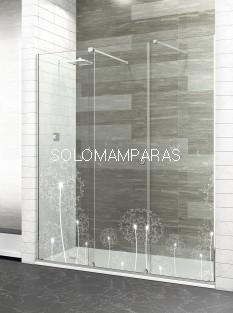 Mampara de ducha London -Deyban- 2 fijos + 1 corredera, 8mm y acero inoxidable