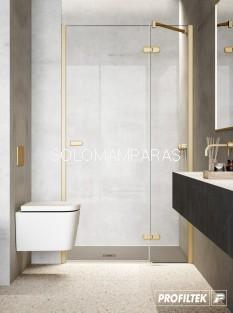 Mampara de ducha Gallery de PROFILTEK,  fijo + abatible, con bisagras y vidrio de 8mm