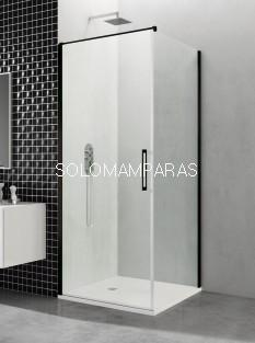 Mampara de ducha Open Black -GME- 1 puerta abatible + lateral fijo (COMBI A + Lateral)