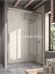 Mampara de ducha -Kassandra- Luna (LU102) 1 fija + 1 corredera, perfil plata brillo, 8mm con antical.