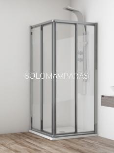 Angular de ducha Madeira (2 fijas + 2 correderas) en vidrio templado y acrílico