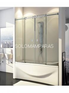 Mampara de bañera Marne (2 fijas + 2 correderas) Acero Inox - Vidrio 8 mm