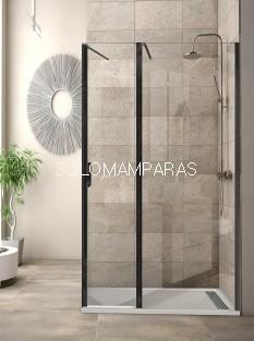 Mampara de ducha Antibes (fija + abatible + lateral fijo) 8mm, perfil negro