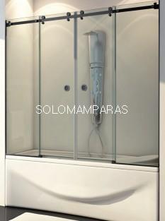 Mampara de bañera Marne (2 fijas + 2 correderas) 8 mm con perfileria negra