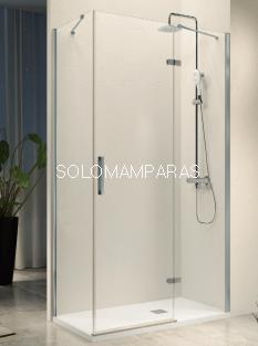 Mampara de ducha -Kassandra- Nardi (NA408) (1 fijo frontal + 1 abatible + lateral fijo) Transparente (Antical Easy Clean)
