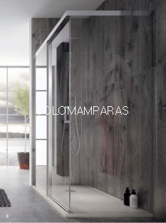 Frontal de ducha Mampara Pinet de Torvisco, 1 fija + 1 corredera y Lateral fijo (Opcional).
