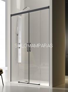Mampara de ducha frontal -Kassandra- Glase (GS100) (2 fijas + 2 correderas) con perfileria negra (antical Easy Clean)