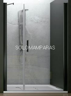 Mampara de ducha Ameca (1 fijo + 1 puerta abatible) 6 mm con perfileria negra