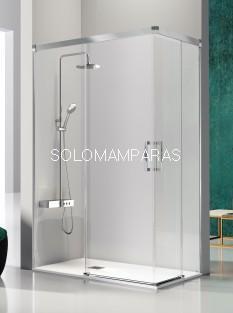 Mampara de ducha angular -Kassandra- Glase (GS607+GS607) (2 fijas + 2 correderas) con perfileria plata alto brillo (antical Easy Clean)