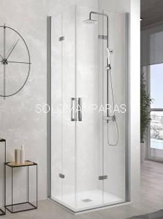 Mampara de ducha angular plegable -Kassandra- Nardi (NA306) Transparente (Antical Easy Clean)