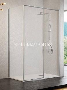 Mampara de ducha -Kassandra- Masela (MS102+MS103) (1 fija + 1 corredera + 1 lateral fijo) 6 mm con perfileria plata brillo (antical)