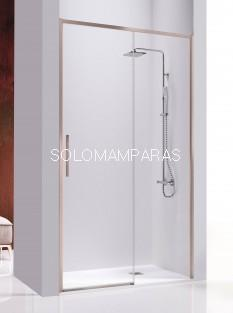 Mampara de ducha -Kassandra- Masela (MS102) (1 fija + 1 corredera) 8 mm con perfileria oro rosa (antical)