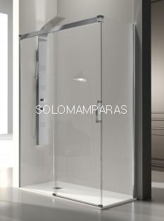 Mampara de ducha -Kassandra- Glase (GS102 + GS103) (1 fija + 1 corredera) + 1 lateral fijo, 8 mm con perfileria plata alto brillo (antical Easy Clean)