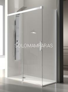 Mampara de ducha -Kassandra- Glase (GS102 + GS103) (1 fija + 1 corredera + 1 lateral fijo) 8 mm con perfileria blanca (antical Easy Clean)