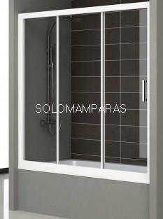 Mampara Bañera Nantes, Blanco/Transparente, (1 fija + 2 correderas) antical incluido