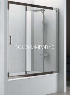 Mampara bañera Mampara Nantes (Cromo/Transparente),1 fija + 2 correderas antical incluido