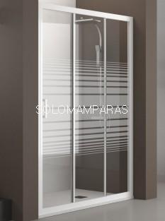 Mampara de ducha Nantes (Blanco/Rayas), 1 fija + 2 correderas antical incluido
