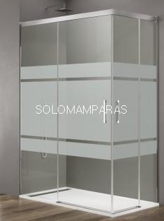 Mampara de ducha -GME- Basic (Antical), (Angular 2 fijas + 2 correderas) Frost plus