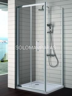 Mampara de ducha plegable -Kassandra- S300 (TR300+TR303) 2 hojas plegables + lateral fijo (antical Easy Clean)
