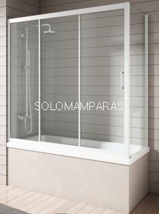Mampara Bañera Nantes, Blanco/Transparente, (1 fija + 2 correderas + Lateral Fijo) antical incluido