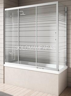 Mampara bañera - NANTES - Cromo Rayas,(1 fija + 2 correderas y Lateral Fijo) antical incluido