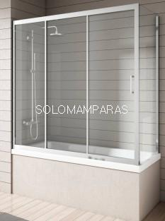 Mampara bañera Nantes, Cromo/Transparente (1fija, 2correderas + Lateral Fijo) antical incluido