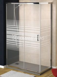 Mampara de ducha Niza (1 fija + 1 corredera + 1 lateral fijo) con serigrafía antical incluido