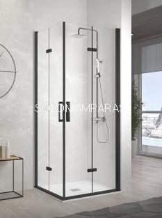 Mampara de ducha angular plegable -Kassandra- Nardi (NA306) Transparente, perfi negro mate