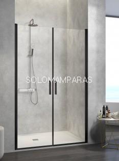 Mampara de ducha -Kassandra- Nardi (NA501) (2 puertas abatibles) Transparente, perfil negro