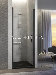 Mampara de ducha -Kassandra- Nardi (NA500) 1 puerta abatible transparente con perfil negro