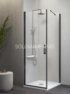 Mampara de ducha -Kassandra- Nardi (NA507) (1 abatible + 1 lateral fijo) Transparente con perfil negro