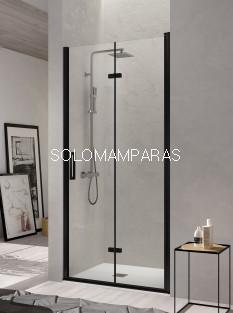 Mampara de ducha -Kassandra- Nardi (NA307) 2 puertas plegables (antical Easy Clean) perfil negro