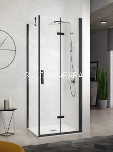 Mampara de ducha -Kassandra- Nardi (NA307) 2 puertas plegables + 1 lateral fijo (antical Easy Clean) perfil negro