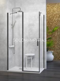 Mampara de ducha -Kassandra- Nardi (NA508) (fijo frontal + puerta abatible + lateral fijo) Transparente con perfil negro