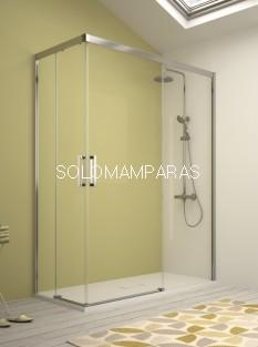 Mampara angular serie 400 -Kassandra- (CU607+CU607) 2 Fijas + 2 correderas (Antical Easy Clean)