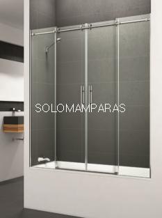 Mampara de bañera Saina -Deyban- 2 fijas + 2 correderas (acero inoxidable) con antical