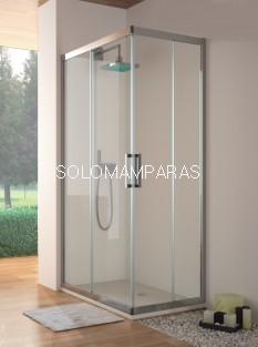 Mampara Kassandra Serie 300, TR105 transparente, angular 2 fijas + 2 correderas ( con Antical Easy Clean)