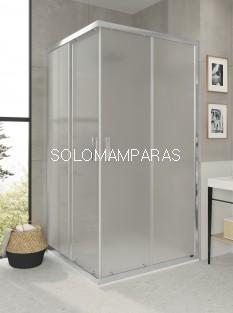 Mampara de ducha angular F3 de 2 fijos + 2 correderas, vidrio carglass de 6mm y antical