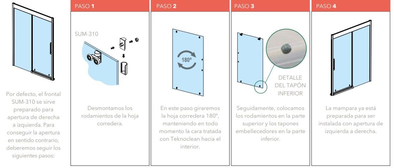 Infografía instalar mampara reversible